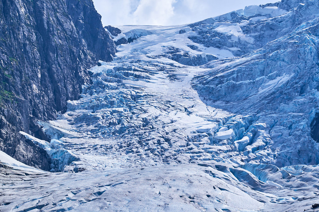 The very blue and very cracked ice cap at the foot of the Folgefonna Glacier in Hardanger Norway