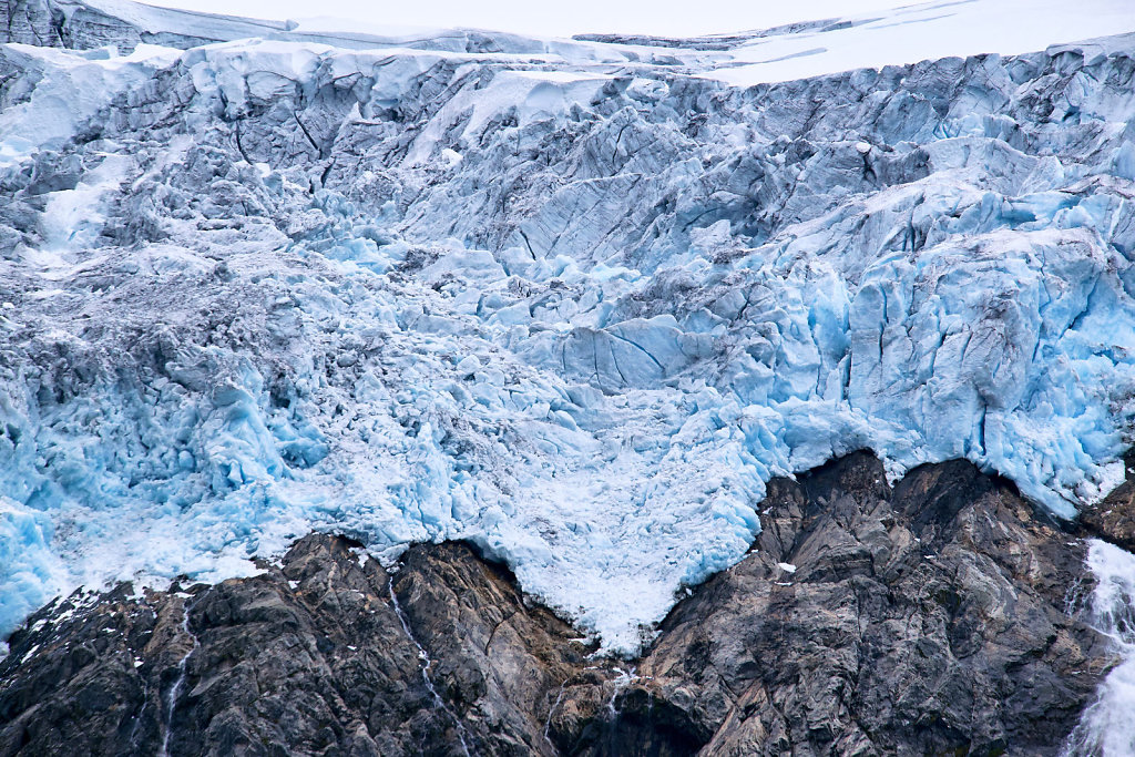 Compressed blue ice at the top of Folgefonna glacier in Buerdalen in Norway