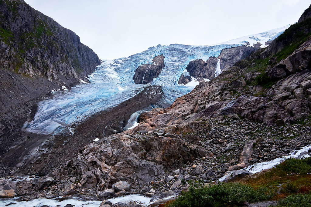 Looking up at the top of Folgefonna glacier in Norway
